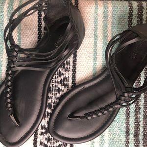 Wide width Braided t-strap sandal